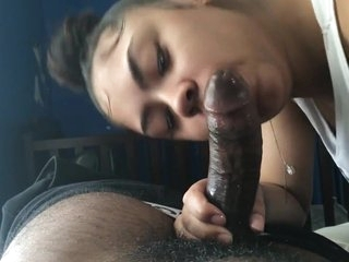 Latina girl gives hot to her black friend