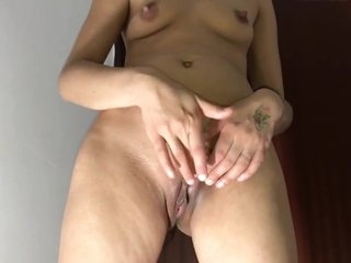 junior girl getting her pussy fucked with toy while standing