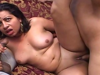 Chunky Indian babes gets drilled by two American fuck boys