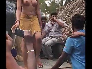 Desi group sex in open