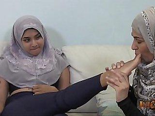 Desi muslimah Sahara Knite has fun with Bengali hijabi