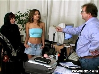 Pervert Old Boss Busty Teen And Mom Office Threesome